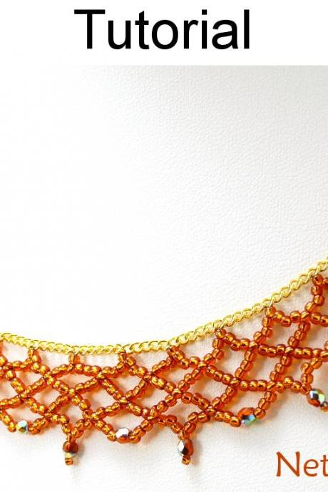 Beading Tutorial Pattern Necklace - Netting Stitch - Simple Bead Patterns - Netted Chain #14385