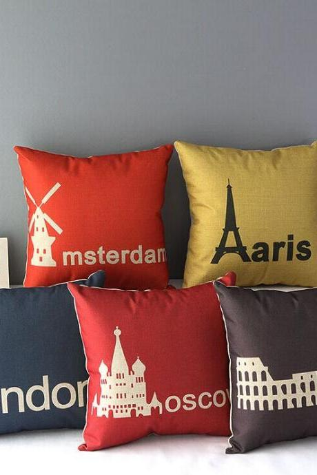 High Quality 5 pcs a set Famous City track Cotton Linen Home Accesorries soft Comfortable Pillow Cover Cushion Cover 45cmx45cm