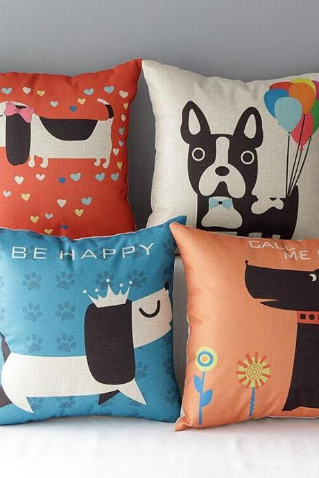 High Quality 4 pcs a set dog Cotton Linen Home Accesorries soft Comfortable Pillow Cover Cushion Cover 45cmx45cm