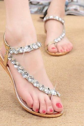 Womens Sandals Silver Diamond Wedding Party Sandal Shoes US4.5-8