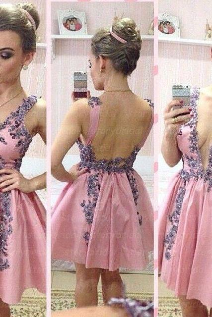 Bd07161 Charming Homecoming Dress,Appliques Homecoming Dress,Satin Homecoming Dress, Cute Short Prom Dress