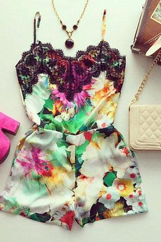 Sexy Lace Spliced Floral Print Sling Jumpsuit Shorts