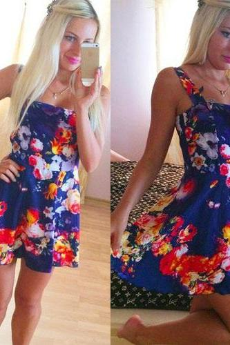 Sweet Floral Print High Waist Sling Dress