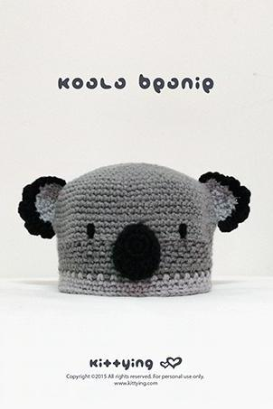 Crochet Pattern Koala Beanie Preemie Newborn Baby Toddler Children Teenager Koala Woodland Animal Hat Crochet Pattern