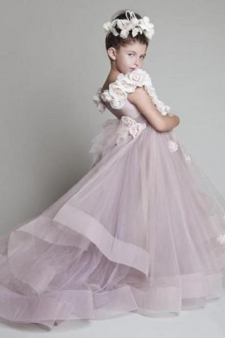 2015 new cute Flower girl dress ruffled spent by hand shoulder flower girl dress the girl's beauty pageant dress wedding birthday Flower girl dress
