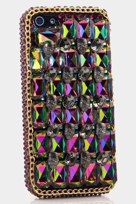 Bling Crystals Phone Case for iPhone 6 / 6s, iPhone 6 / 6s PLUS, iPhone 4, 5, 5S, 5C, Samsung Note 2, Note 3, Note 4, Galaxy S3, S4, S5, S6, S6 Edge, HTC ONE M9 (SINISTER SKULL DESIGN) By LuxAddiction