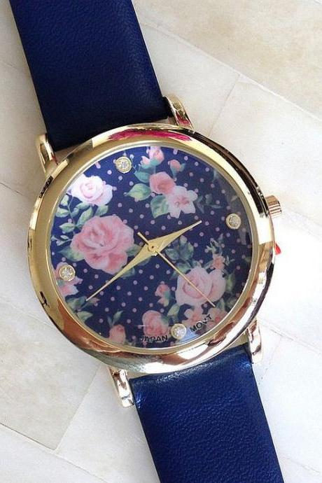 Floral face PU leather blue band fashion teen watch