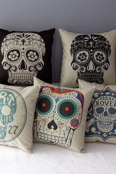 High Quality 5 pcs a set Skeleton head Printed Cotton Linen Home Accesorries soft Comfortable Pillow Cover Cushion Cover 45cmx45cm