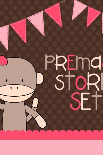 Premade Luulla Shop Set - Pink Sock Monkey
