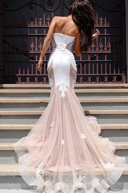 Mermaid Wedding Dresses, Vintage Wedding Gowns, Sweetheart Wedding Dress, Appliques Bridal Dresses, Sheer Bridal Gowns