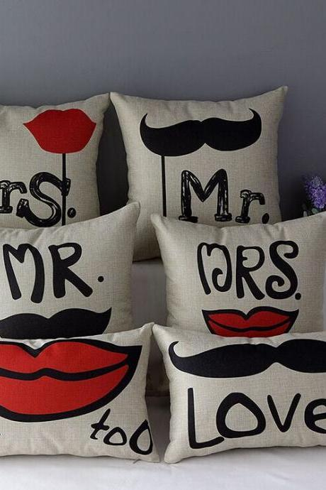 High Quality 6 pcs a set Bearded red lips Printed Cotton Linen Home Accesorries soft Comfortable Pillow Cover Cushion Cover 45cmx45cm