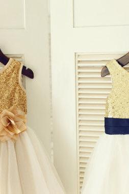 Gold Sequin IvoryTulle Flower Girl Dress Navy Blue Flower Belt Children Toddler Party Dress for Wedding Junior Bridesmaid Dress