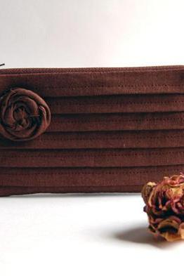 Chocolate Brown Bridal Wedding Clutch or Bridesmaid Clutch, Pouch, Purse - Romantic Rose pleats by Lolos