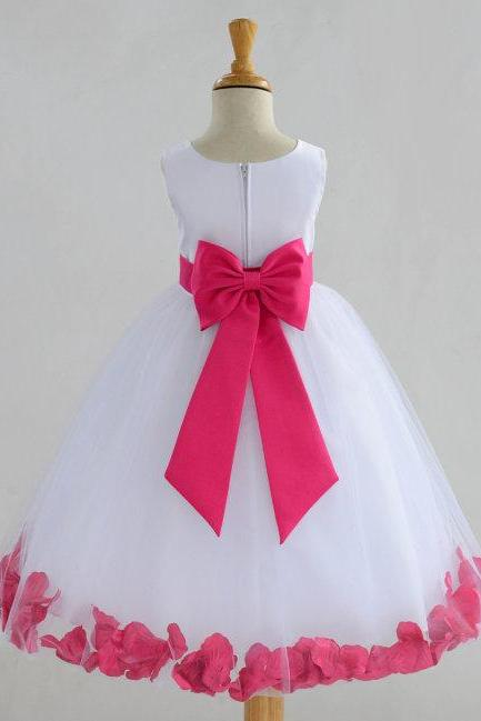 White Flower Girl dress bow sash pageant petals wedding bridal children bridesmaid toddler elegan