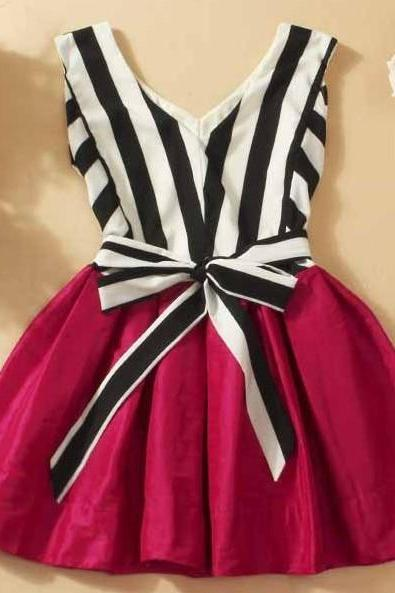V-Neck Striped Tutu Dress Stitching