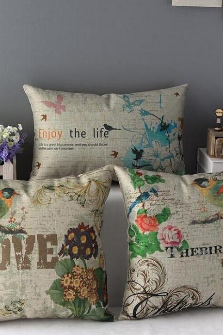 High Quality 3 pcs a set Flowers birds Cotton Linen Home Accesorries soft Comfortable Pillow Cover Cushion Cover 45cmx45cm