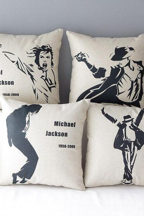 High Quality 4 pcs a set Michael Jackson Cotton Linen Home Accesorries soft Comfortable Pillow Cover Cushion Cover 45cmx45cm