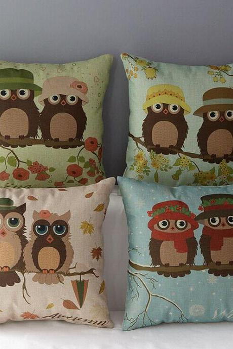 High Quality 4 pcs a set Owl Seasons Cotton Linen Home Accesorries soft Comfortable Pillow Cover Cushion Cover 45cmx45cm
