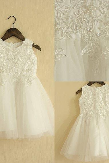 2015 Hign-end Lace Flower Girl Dress-Christening Baptism Dresses-Flower Girl- Sleeveless Girl Dress-Bridesmaid-Country Flower Girl-Birthday