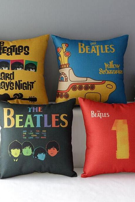 High Quality 4 pcs a set the beatles Cotton Linen Home Accesorries soft Comfortable Pillow Cover Cushion Cover 45cmx45cm