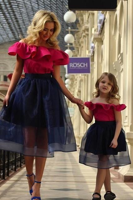 Mother And Daughter Dresses, Red Evening Dresses, Little Girls and Mum Dresses, Organza Evening Gowns, Red Party Dresses, Fashion Prom Dresses, New Arrival Party Dresses