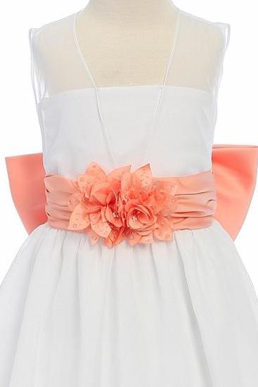 Children's wear dress white flower girl dress bow sash pageant decorated Wedding Bridal children Bridesmaid toddler elegant orange Spaghetti Straps Chiffon flower