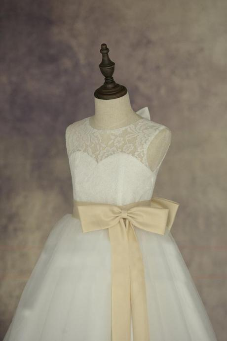Lace Tulle Flower Girl Dress With Elegant Sash and Bow