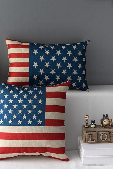 High Quality 2 pcs a set American flag Cotton Linen Home Accesorries soft Comfortable Pillow Cover Cushion Cover 45cmx45cm