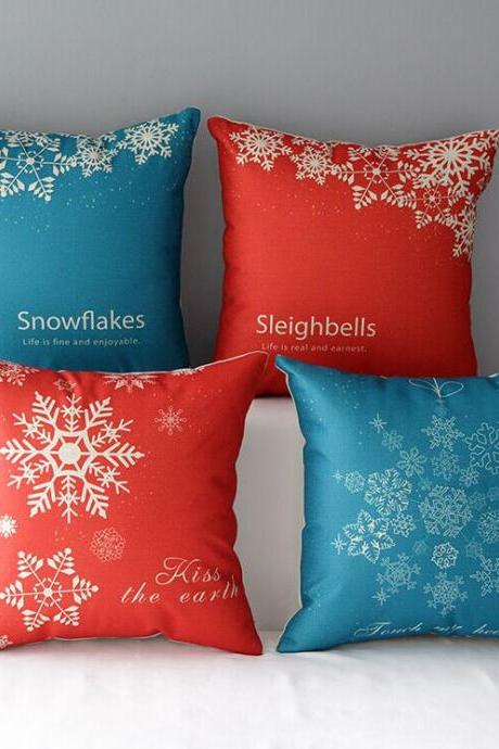 High Quality 4 pcs a set Snowflake Cotton Linen Home Accesorries soft Comfortable Pillow Cover Cushion Cover 45cmx45cm