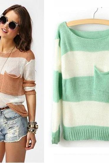 Wide Stripes Mixed Colors Small Pocket Sweater