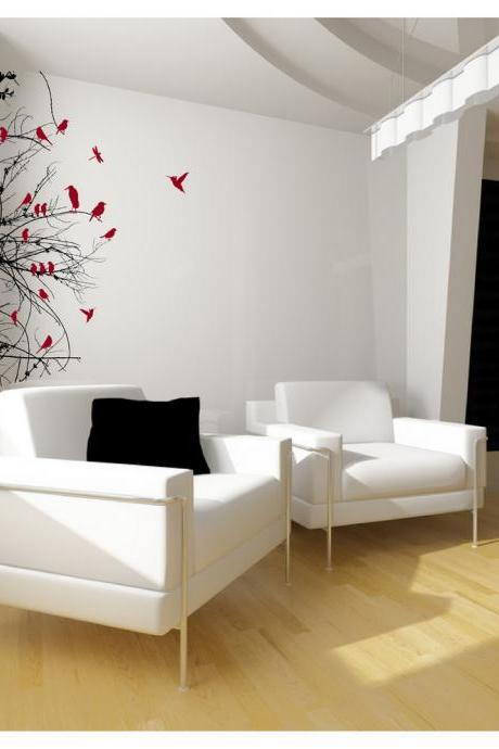 Tree Branches with Birds Left Sided Vinyl Wall Decal 22111