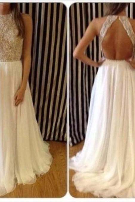 New Arrival Sexy High Neck Beaded Top White Chiffon Long Prom Dresses, Open Back For Special Occasion Dresses On Sale
