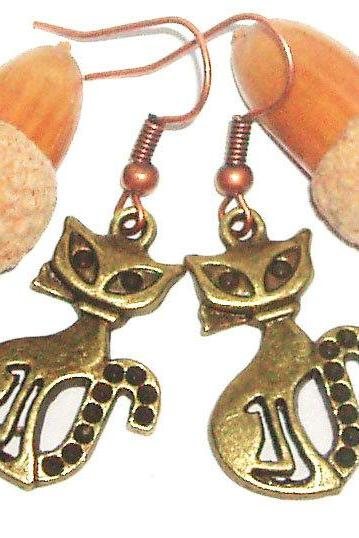 BUY 4 - GET 1 pair earrings FREE..Cute bronze cat charm earrings