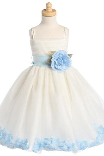 Blossom Ivory Sleeveless Tulle Dress w_ Detachable Sash, Flower Ivory Lace Tulle Flower Girl Dress With Navy Sash and Bow