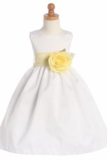 2015 new flower girls dress White Poly Dupioni Dress Detachable Sash Tulle Flower Girl Dress With Elegant Sash And Bow