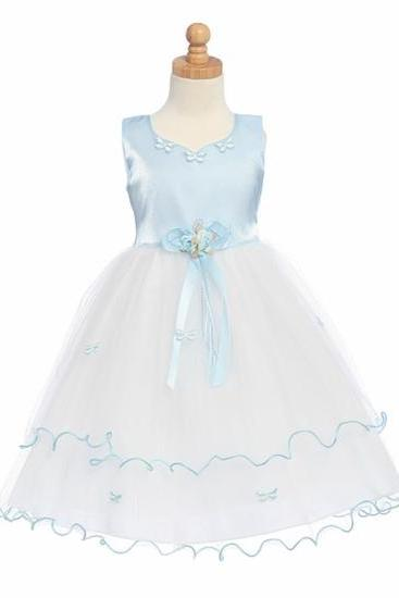 2015 new clothing dresses flower girl dress flower girls marrylove Organza Blue Flower Girl Dress - Matte Satin Bodice with Butterflies