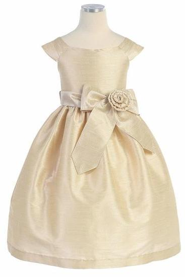 2015 new marrylove Girls Princess Skirt Dress Wedding Flower Girl Dress Champagne Aurora Sash Dupioni Dress