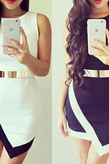 HOT IRREGULAR BLACK WHITE VEST DRESS