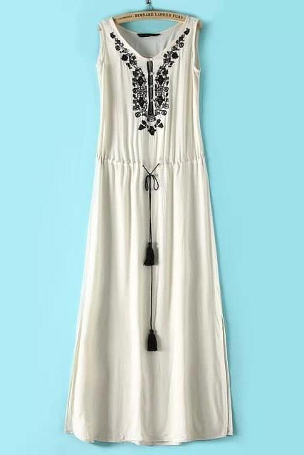 LONG SPLIT EMBROIDERY DRESS SLEEVELESS VEST COTTON DRESS
