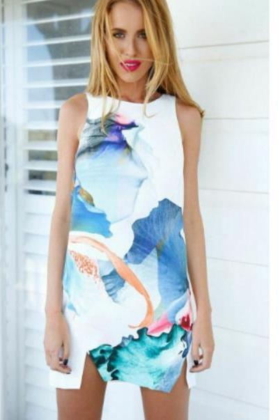 SLEEVELESS VEST PRINTED SPLIT IRREGULAR DRESS