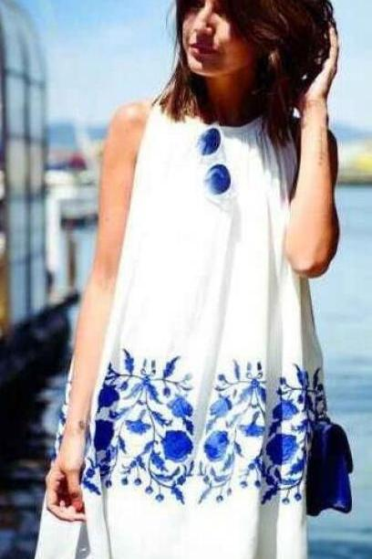 HOT FLOWER BLUE WHITE DRESS