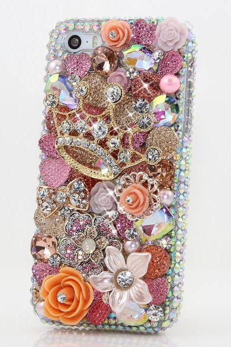 Bling Crystals Phone Case for iPhone 6 / 6s, iPhone 6 / 6s PLUS, iPhone 4, 5, 5S, 5C, Samsung Note 2, Note 3, Note 4, Galaxy S3, S4, S5, S6, S6 Edge, HTC ONE M9 (GOLDEN CROWN WITH DIAMONDS DESIGN) By LuxAddiction