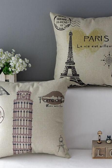 High Quality 2 pcs a set Stamp Tower Cotton Linen Home Accesorries soft Comfortable Pillow Cover Cushion Cover 45cmx45cm