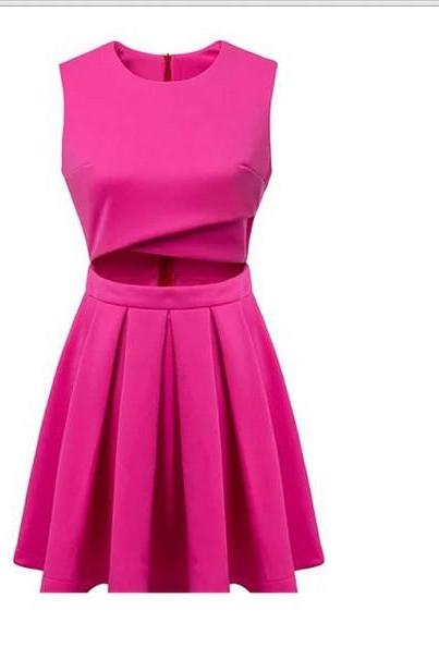 Cut Out Waist Skater Dress