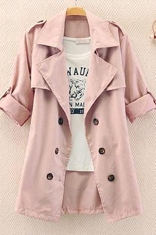 Slim Solid Color Bow Button Coat