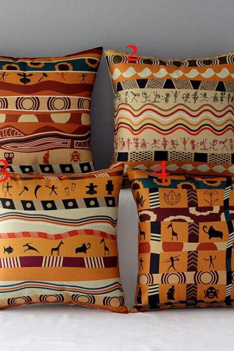 High Quality 4 pcs a set Africa Cotton Linen Home Accesorries soft Comfortable Pillow Cover Cushion Cover 45cmx45cm