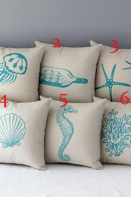 High Quality 6 pcs a set Ocean Printed Cotton Linen Home Accesorries soft Comfortable Pillow Cover Cushion Cover 45cmx45cm