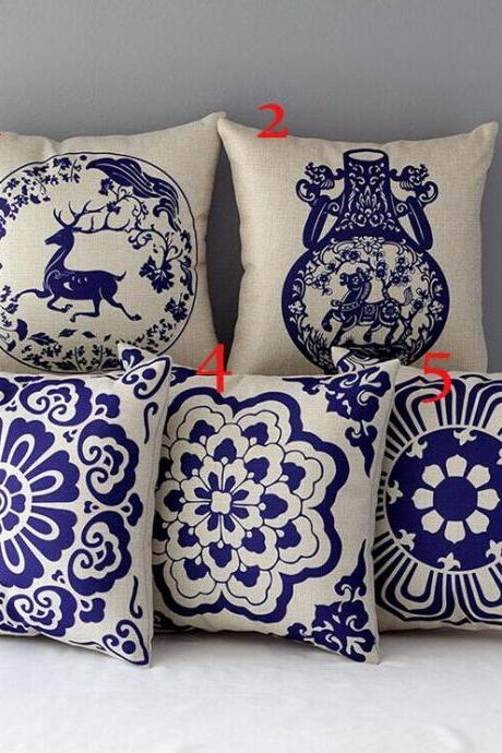 High Quality 5 pcs a set Porcelain Printed Cotton Linen Home Accesorries soft Comfortable Pillow Cover Cushion Cover 45cmx45cm