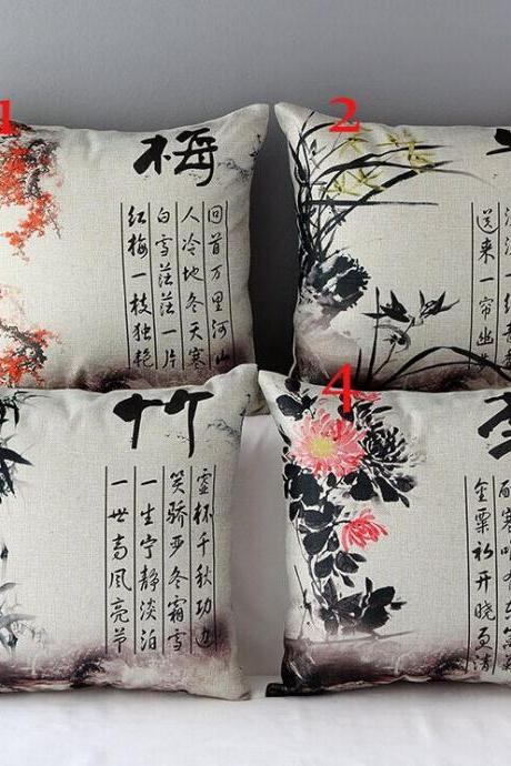 High Quality 4 pcs a set Ink Painting Cotton Linen Home Accesorries soft Comfortable Pillow Cover Cushion Cover 45cmx45cm