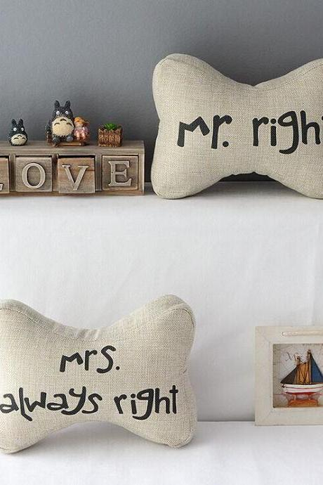 High Quality 2 pcs a set Mr.right headrests Cotton Linen Home Accesorries soft Comfortable Pillow Cover Cushion Cover 45cmx45cm